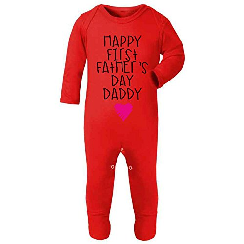 Happy First Father's Day Daddy Pink Scribble Heart New Dad Cute Baby Rompersuit - Fathers Day Gift