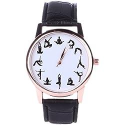demiawaking nueva Yoga patrón relojes niños niñas Mujeres Piel Artificial Banda Analógico Cuarzo escuela Estudiantes muñeca relojes regalo