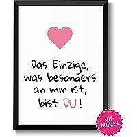 Liebeserklärung DU - Geschenkidee Valentinstag Frau Mann - Bild mit Rahmen - Geschenk Geburtstag Jahrestag Hochzeitstag