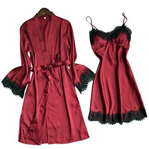 Mymyguoe Damen Negligee Set Große Größen Wimpern Dessous V-Ausschnitt Nachtwäsche Spitze Nachthemd Dessous Sets Kimono Morgenmantel + Nachtkleid