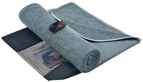 Sunland Extra saugfähiges Mikrofaser Sporthandtuch Workout-Handtuch Fitnesshandtuch Handtücher Terry Stoff (Grau, 60cmx120cm)