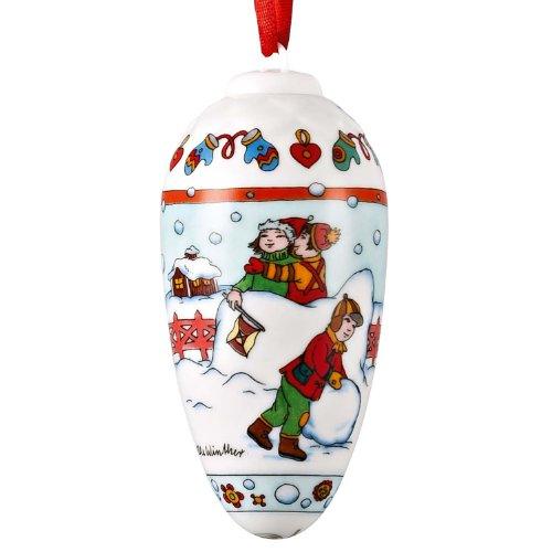 Hutschenreuther Porzellanzapfen Schneeballschlacht Weihnachten 2012