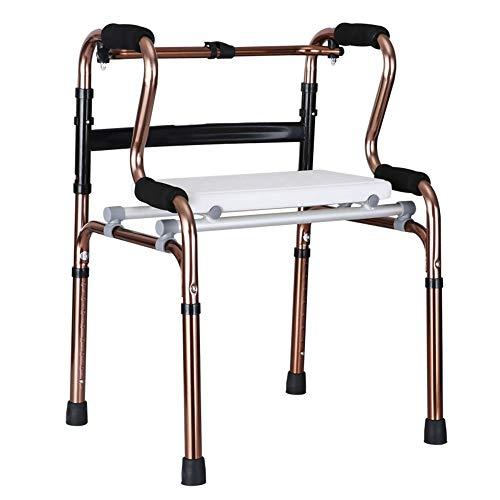 """Bseack Rollator Walker Erwachsenen-Gehhilfe für Senioren, kompakte zusammenklappbare Gehhilfe aus Aluminium mit höhenverstellbarem Sitz: 28,8\""""-36,8\"""" (Color : Gold)"""