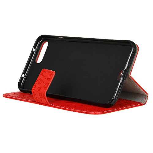 UKDANDANWEI iPhone 7 Hülle - Nette Muster Nähen Ledertasche Wallet Case Classic Schutzhülle Etui Hülle Schale - mit Standfunktion Für iPhone 7 - Rot MN-Rot