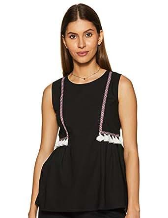 Amazon Brand - Myx Women's Plain Regular fit Top (SS19MYXTP017C_Black_X-Small)