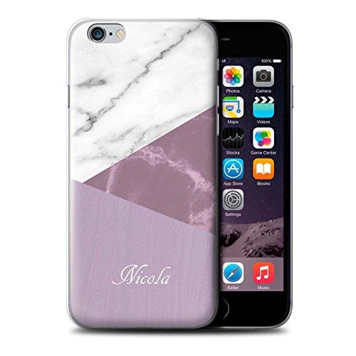 Personalisiert Individuell Holz/Marmor Hülle für Apple iPhone 5/5S / Rosa Dunkles Hölzern Design / Initiale/Name/Text Schutzhülle/Case/Etui Rosa Geometrisch