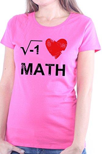 Mister Merchandise Ladies Frauen Damen T-Shirt I Love Math Mathe Nerd , Größe: L, Farbe: Pink -