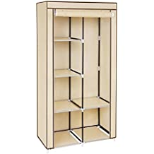 Songmics Armario Ropero plegable Guardarropa de tela y metal 88 x 45 x 170 cm Color beige RYG84M