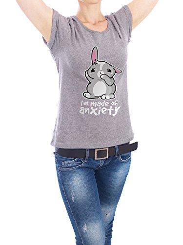 """Design T-Shirt Frauen Earth Positive """"Bunny anxiety"""" - stylisches Shirt Tiere Comic von NemiMakeit Grau"""
