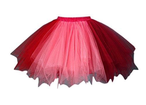 Honeystore Damen's Tutu Unterkleid Rock Abschlussball Abend Gelegenheit Zubehör Weinrot und Wassermelone (In Halloween Kostüme)