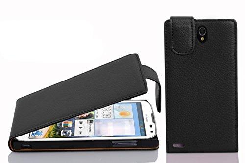 Cadorabo Hülle für Huawei Ascend G610 Hülle in Handyhülle aus strukturiertem Kunstleder im Flip Design Case Cover Schutzhülle Etui Tasche Oxid Schwarz