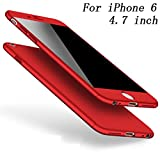 iPhone 6/6s Case iPhone 6 Plus /6s Plus Cover 360 Degree Protection 3 in 1 Slim Cover Adamark Shockproof Shell Full Body Coverage Protection Protective Case + Tempered Glass Screen Protector For iPhone 6/6s Plus (Red, iPhone 6/6s 4.7'')