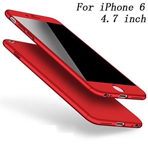 iPhone 6 6s Hülle 360 Grad Full Body Case Shockproof Protective Cover + Tempered Glas Schutzfolie Handyhülle Backcover Hartschale Schutzhülle Rückseite für iPhone 6/6S Etui Schale (Rot)