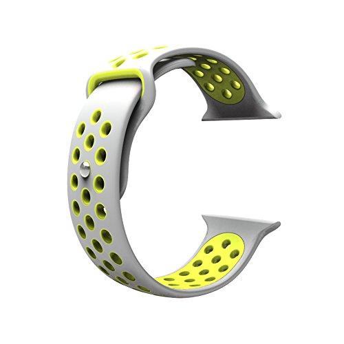 Cinturino per Apple Watch, Wearlizer morbido silicone Sport fascia di ricambio per serie 1e Serie 2, 38mm