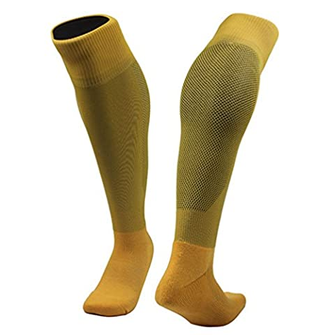 GADIEMKENSD Knee High Football Socks Lightweight Quick Drying Comfortable Sports Stocking Sweat Easily Hose Yellow
