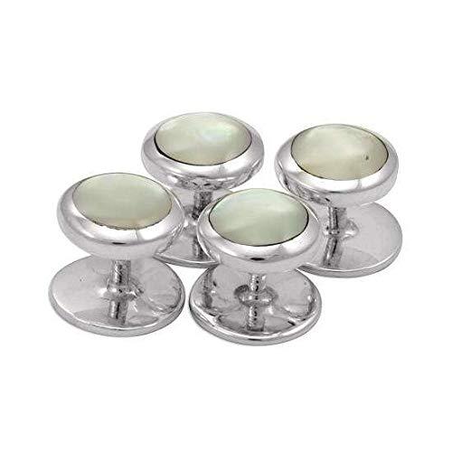 Boutons de Chemise pour Smoking en Argent 925/1000 et Nacre - Fermeture Fixe