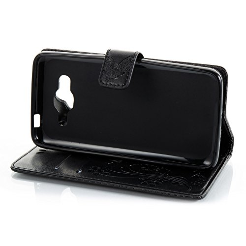 Normallack Faux Leder Bookstyle Brieftasche Stand Case mit geprägten Blumen & Lanyard & Card Slots für Samsung Galaxy J2 Prime ( Color : Darkblue ) Black