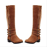 CHZDYZX Boots Women Shoes Winter Knee High Boots Fold Over Design Lace Ladies Shoes Botas Mujer 38 D
