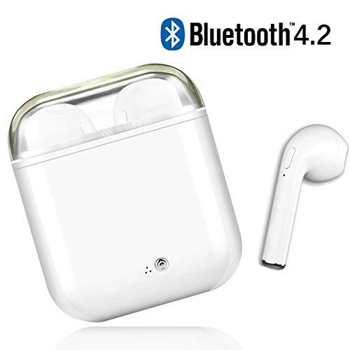dsffa Cuffie Bluetooth, Cuffie Sportive Senza Fili, Stereo immersivo, con Microfono e Scatola di Ricarica, Auricolare Bluetooth per Samsung, iOS, Android e Altri Smartphone