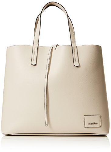 Calvin Klein Damen Ck Reversible Shopper Tote, Weiß (Cement/Light Gold), 14x35x42 cm - Reversible Damen Tasche