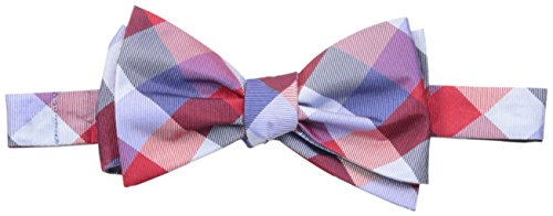 Tommy Hilfiger Men's Buffalo Tartan Self Tie Bow Tie, Red, One Size (Bow Tartan Tie)