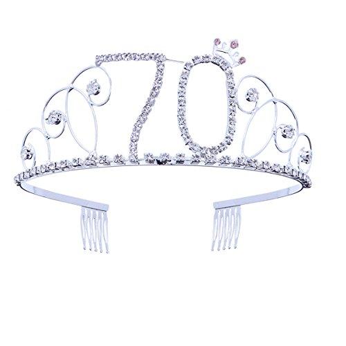 70. Geburtstag Tiara Kristall Strass Geburtstag Tiara Königin Kronen Stirnband mit Kämmen Clip für Mutter oder Großmutters 70. Geburtstag Party Dekorationen (Dekorationen Für 70 Geburtstag Party)