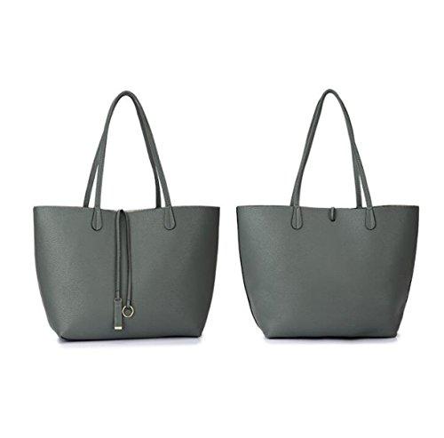 Frauen-Handtaschen-Art- Und Weisehandtaschen Für Frauen Einfaches PU-lederne Schulter-Beutel-Einkaufstaschen Lightgray