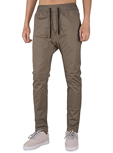 The awoken jogging uomo marina militare harem pantaloni lino (l, legname cachi)
