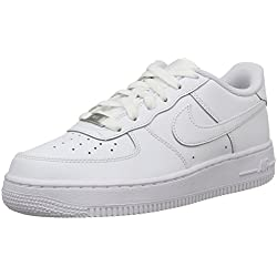 Nike AIR FORCE 1 (GS), Unisex-Kinder Sneakers, Weiß (117 WHITE/WHITE-WHITE), 39 EU