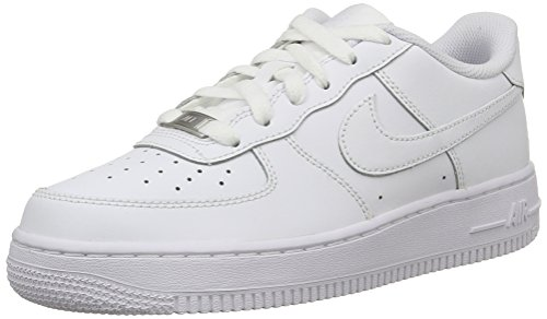 Nike AIR FORCE 1 (GS), Unisex-Kinder Sneakers, Weiß (117 WHITE/WHITE-WHITE), 39 EU (Nike Air 1 Force Kinder)