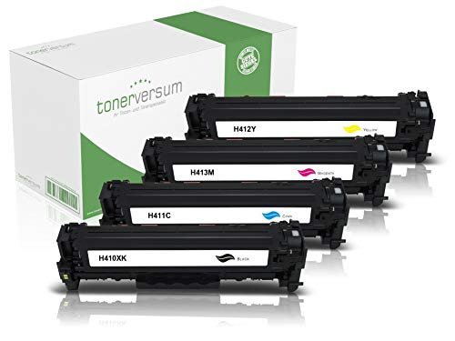 4 Toner kompatibel zu HP CF410X CF411X CF412X CF413X Schwarz Cyan Magenta Gelb für Color Laserjet Pro M452 M452dn M452nw MFP M477fdw M477fnw M377dw Laserdrucker Multipack