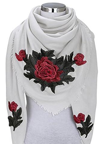 XXL PATCHES ROSE STICKER Damen Schal Tuch Karoschal Halstuch Fashion Plaid Loop Weiß