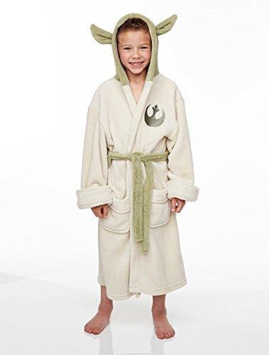 Groovy UK Offizielles Yoda Star Wars Fleece Bademantel mit Grün Kapuze, Microfaser, weiß, Kids Medium 7-9 Years - Star Wars-yoda-fleece