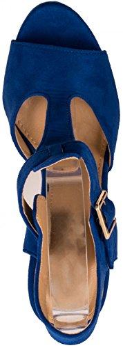 Elara - Scarpe con plateau Donna blu, motivo Parigi