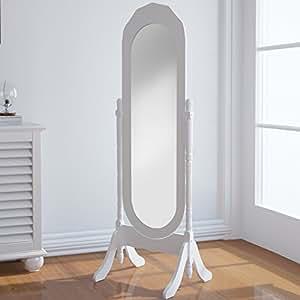 Miadomodo - Miroir sur Pied Inclinable Miroir Psyché en Bois Laqué Blanc