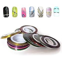 Haodou 32 colores/set cinta de Uñas línea de cinta de colores mezclados para la decoración de uñas rollo de rayas