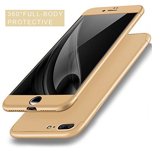 iPhone 8 Plus Coque, Bonice iPhone 7 Plus Coque Détachable 360 Degrés Étui de Protection Full Etui de Protection [Séparable] Ultra Mince Fine 0,3 mm Slim Léger Matte Coque [3 en 1] Cover Case Anti-Scr A - Or