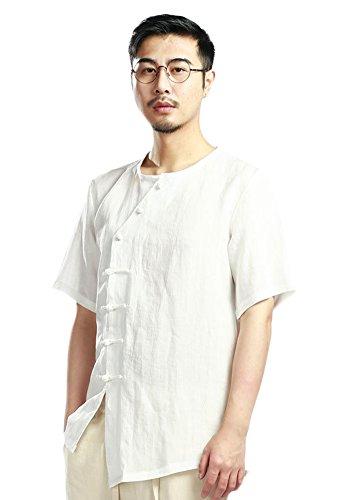 SK Studio Herren Leinen Kurze Hemd Mit Asymmetrie Knopf Leicht Und Dünn Einfarbig Rundkragen Kurzarm Hemd Freizeit Short Sleeve Shirts Weiß