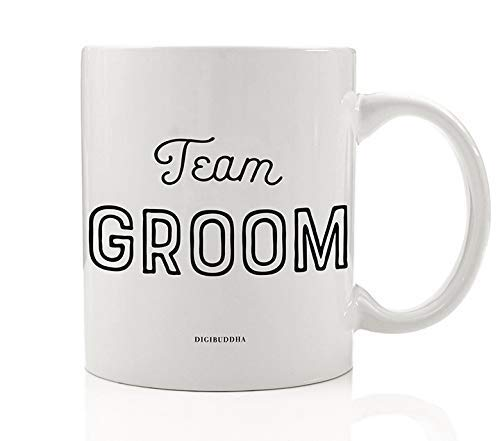 Team Groom Coffee Mug Gift Idea Engagement Bachelor Parties Groomsmen Bridal Party Present Wedding Rehearsal Favors Male Family Members & Friends 11 Oz Ceramic Beverage Tea Cup 0384 (Engagement Party Favor Ideen)