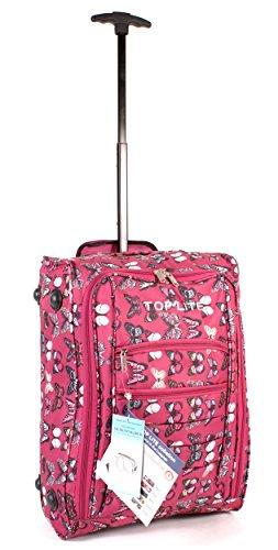 cabin-wb-bfp-01 Rouge Magenta (Rose foncé) Imprimé Papillon deux VOL Valise de cabine à roulettes léger bagage à main Sac de voyage