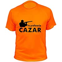 Camiseta de caza, Yo preferia cazar (30160, Naranja, L)