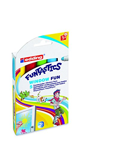 fenstermalfarben edding 4-16-5 Funtastics Window Marker, Fun e-16, 5er Set, 2-6 mm, sortiert