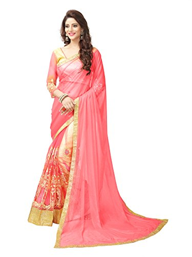 Panchratna Women\'S Embroidered Lycra And Net Sarees With Blouse Material