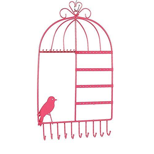 Klassische Verstellbare Wand (Speicherohrring-Halter-Schmuck-Organisator-Halsketten-Aufhänger-Wand-Stand-Gestell-schwarzer klassischer Anzeigen-Schmuck-Organisator (Farbe: Rosa, Größe: 26.5 * 44cm))