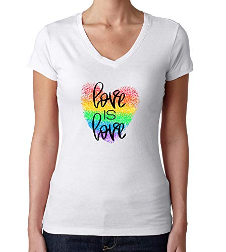 Damen Love is Love Rainbow Heart T-Shirt V-Neck Weiß L -