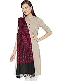 Weavers Villa Women's Viscose Stole (WVST-105-RED, Multicolour, Medium)