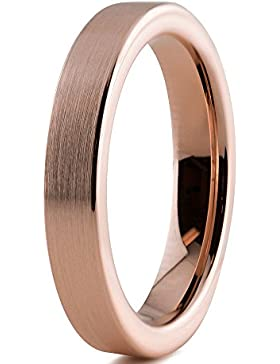 Tungsten Wedding Band Ring 4mm for Men Women Comfort Fit 18K Rose Gold Plated Pipe Cut Flat Brushed Polished Lifetime...