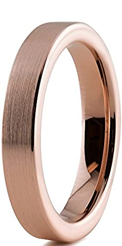 Tungsten Wedding Band Ring 4mm for Men Women Comfort Fit 18K Rose Gold Plated Pipe Cut Flat Brushed Polished Lifetime Guarantee Size 63