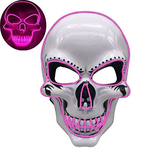 WLXW LED Tactical Skull Leuchtende Maske, CS War Game Enemy Und I Identify Light, Airsoft Paintball Shooting Jagdschutz, Halloween Cosplay Kostümparty Maske,Rosa (Der Leuchtende Jack Kostüm)