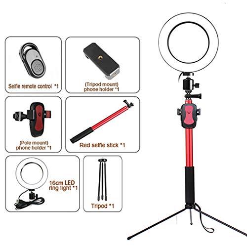 Live LED-Ringlicht Schreibtischlampe Mit einziehbarer Stativhalterung 6 Zoll dimmbar Geeignet für Selbstauslöser USB-Stecker,Pink Make-up